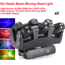 4Pcs/Lot 110W LED RGBW 4IN1 Six Heads Beam Moving Head Light DMX512 Beam Wash Light DJ /Bar /Party /Show /Stage Light