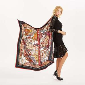 Image 2 - Women Vintage Square Silk Shawl Luxury Brand Symmetrical Scarf 130*130cm Shawls Stole Large Pattern Twill Shawl Wholesale