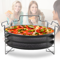 3Pcs 12 Inch Round Bakeware Carbon Steel Punched Holes Kitchen Tools Dish With Rack Pizza Baking Pan Non Stick Tray Household
