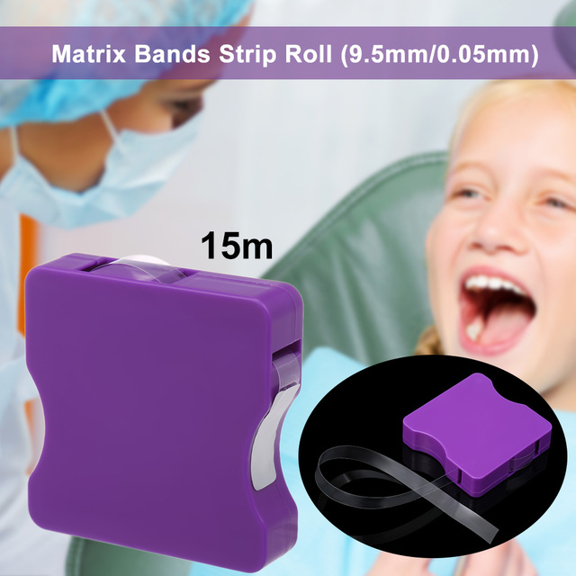 15m Dental Clear Matrix Bands Strip Roll Restoration Light Cured Resin Bands for Anterior 9.5mm/0.05mm