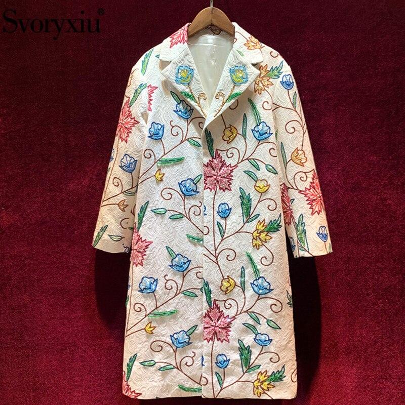 Svoryxiu Designer Custom Autumn Winter Loose Long   Trench   Coat Women's Long Sleeve Beading Printed Jacquard Overcoat Outwear