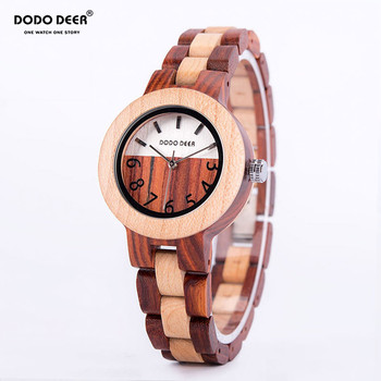 DODO DEER Women's Watches Wooden Red Sandalwood relojes para mujer Analog Quartz Watch Simple Customized  Orologio da donna wooden watches men s watch handmade elk wrist watch deer analog quartz clock male with full ebony wood band relojes para mujer