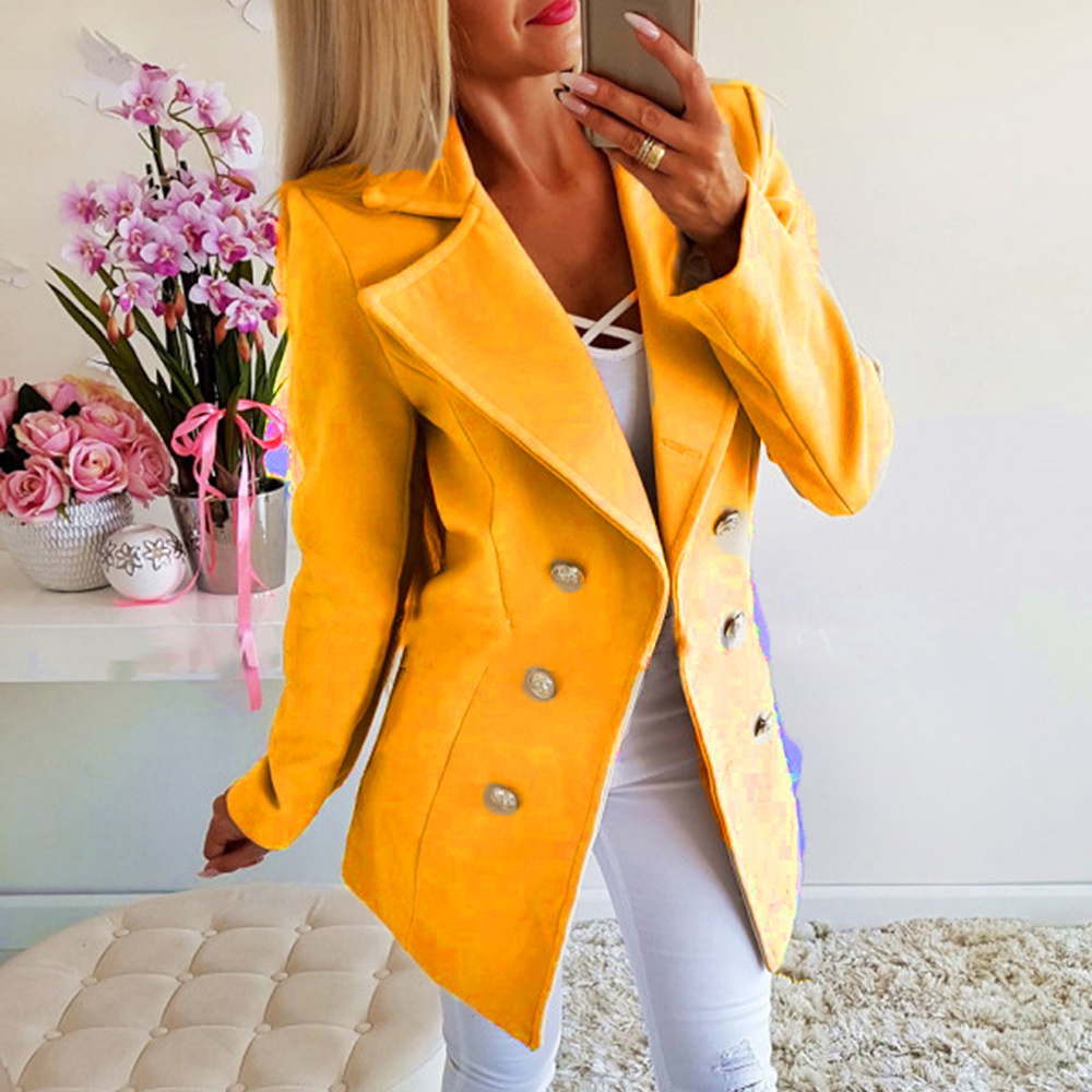 Autumn Ladies Blazers 2019 New Fashion Double Breasted Slim Blazer Women Suit Jacket Kakhi Female Plus Size Blazer Femme