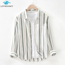 Men Autumn Fashion Soft Breathable Cotton Linen Striped Shirts Japanese Style Harajuku Simple Long Sleeve Wild Lapel Tops Pocket