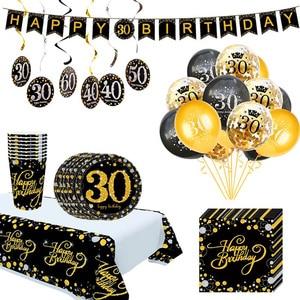 Image 1 - Ballons de table jetable pour anniversaire, banderole, fournitures décoratives pour fête du 30e, 40e, 50e anniversaire, banderole
