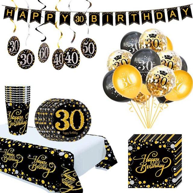 Ballons de table jetable pour anniversaire, banderole, fournitures décoratives pour fête du 30e, 40e, 50e anniversaire, banderole