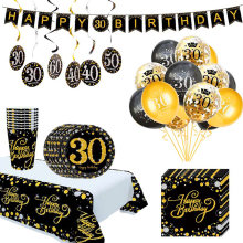 Ballons de fête d'anniversaire jetables, banderole pour adultes, fournitures de décoration de fête d'anniversaire, 30e 40e 50e