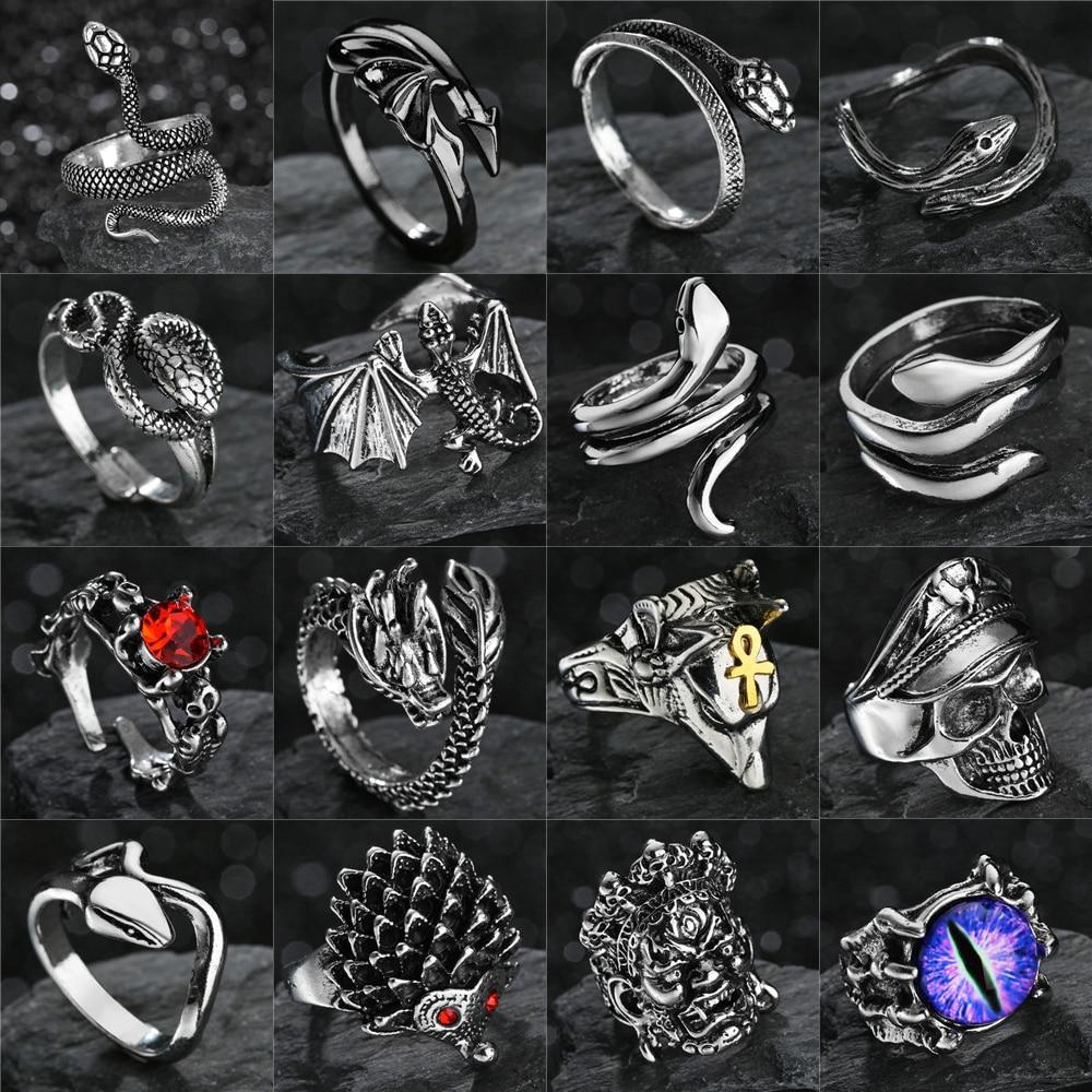 Ретро панк готическое кольцо змеи для мужчин женщин мужчин дракон/Череп/Волк/Стрела/пират/сглаза античные Регулируемые кольца Anillo Hombre Bijoux