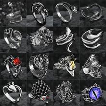 Retro Punk Gothic Snake Ring for Men Women Dragon/Skull/Wolf/Arrow/Pirate/Evil Eye Antique Adjustable Rings Anillo Hombre Bijoux