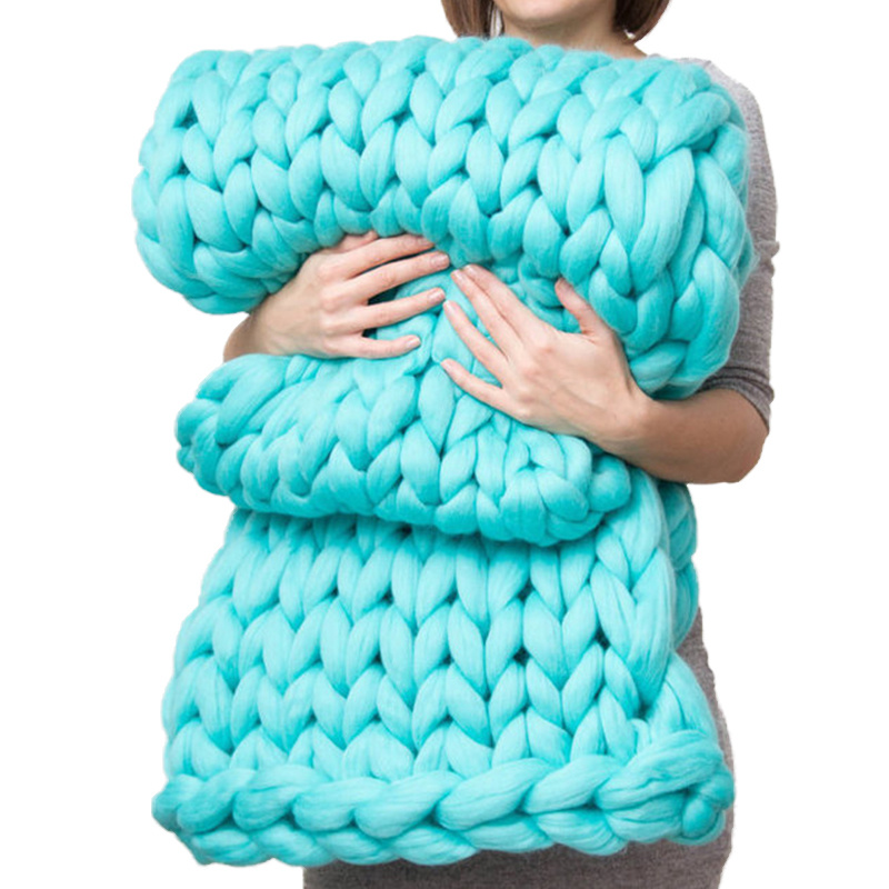 Hot Large Soft Hand Chunky Knitted Blanket Plaids For Winter Bed Sofa Plane Thick Yarn Knitting Throw Cheap Sofa Cover Blankets
