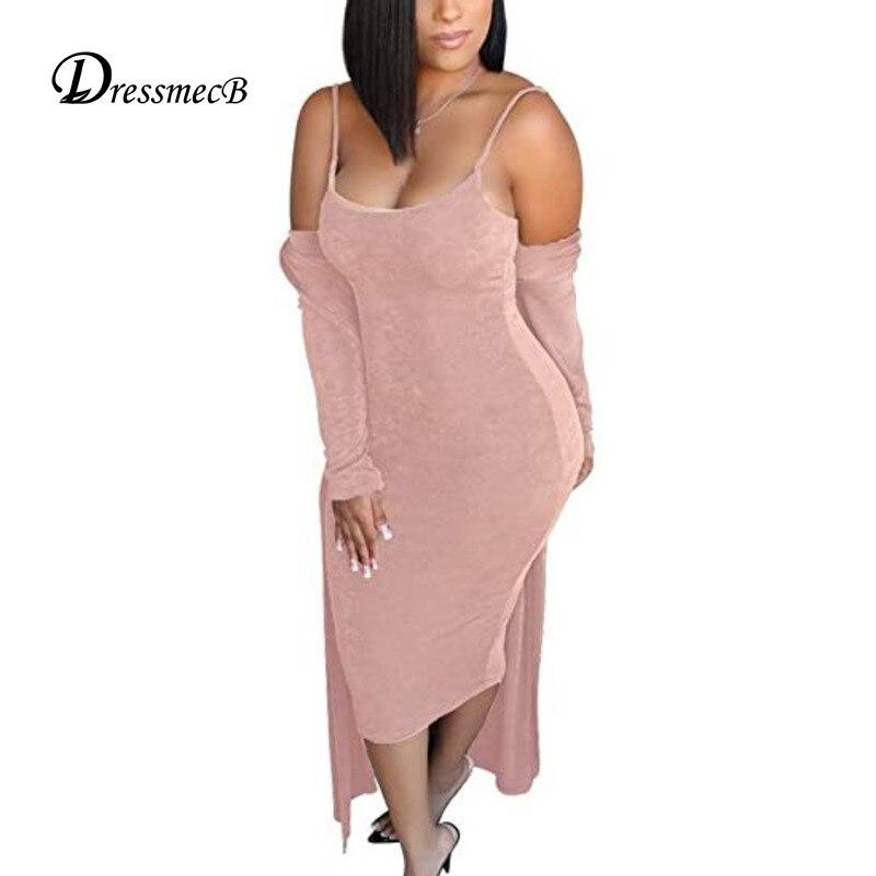Dressmecb розовая однотонная женская одежда из двух предметов на тонких бретельках, кардиган и платье миди, повседневный Женский комплект из 2 п...