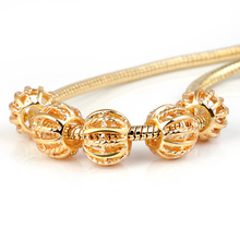 10Pcs a Lot Gold Round Openwork Beads Fit For Pandora Charms Bracelet DIY Bead European Murano Czech Spacer Beads Love Charm цена