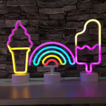 Neon Night Light Rainbow Popsicle Ice Cream Kids Girl Bedroom Decor Table Lights Christmas Holiday Wedding Party Atmosphere Lamp