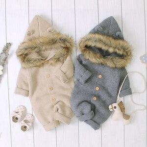 Pudcoco зимняя одежда для новорожденных мальчиков и девочек однотонный вязаный хлопковый комбинезон с длинными рукавами и капюшоном комбинез...
