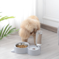 Pet Double Bowl Pet Automatic Water Fountain Automatic Continued Water Not Wet Mouth Cat Drink Water Tool Cat Bowl Dog Bowl