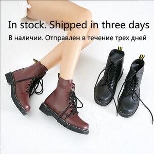 Image 2 - Vrouwen Enkellaarsjes Winter Warm Rijden Equestr Schoenen Vrouw Bont Binnenkant Kunstmatige Lederen Lace Up Schoenen Platform Plus Size 43 44
