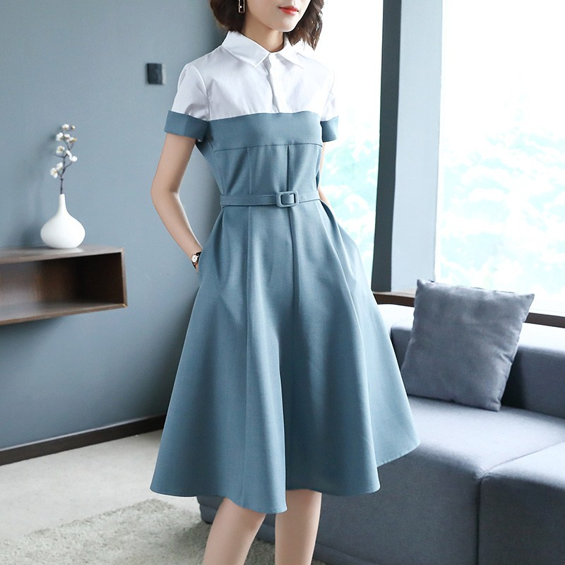 Vestidos Summer Elegant Fashion Short-sleeved Shirt Collar Dresses Slim Professional Temperament Large Swing Casual Dress Z323
