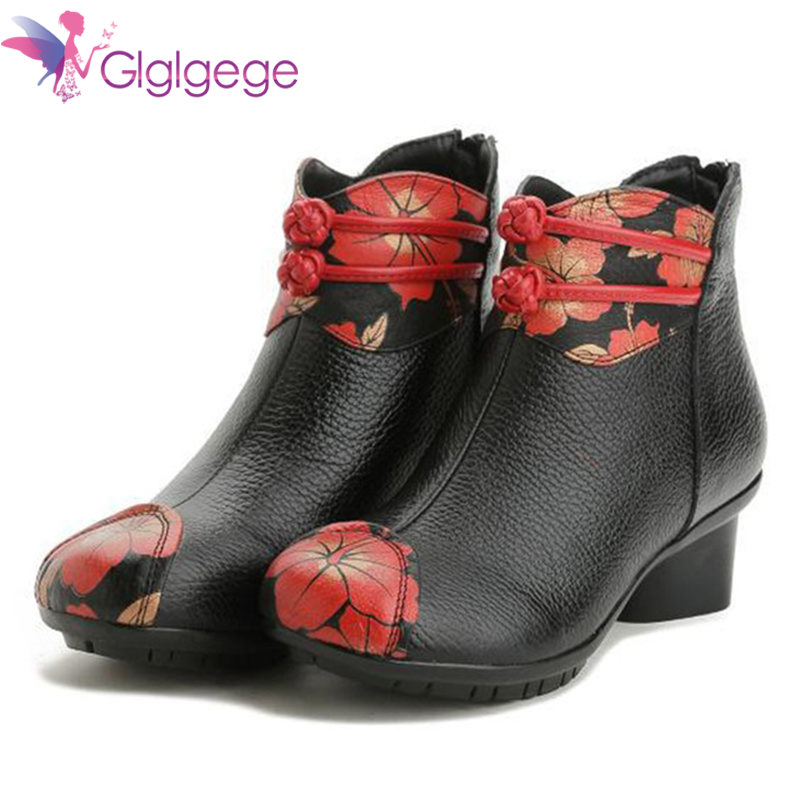 Cheap Glglgege British Style Genuine Cow Leather Women Ankle Boots Autumn Fashion Pleated Zipper Short Boots Women Flats Winter Shoes