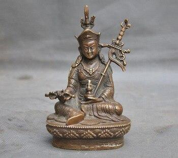 """wedding decoration 6"""" Tibetan Buddhism temple bronze Guru Rinpoche Padmasambhava Buddha Statue"""