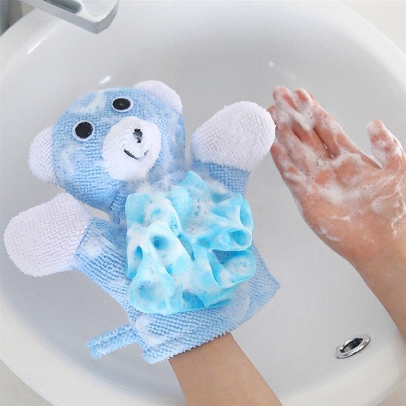Baby Infant Cartoon Soft Glove Foam Rub Sponge Exfoliating Bath Towel Shower New