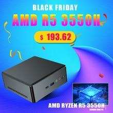 Дешевый мини ПК AMD Ryzen R5 3550H R7 2700U Vega Graphic 2 * DDR4 Nuc компьютер Win 10 Pro HDMI 2,0 DP TYPE-C 3 * дисплей AC WIFI BT5.0