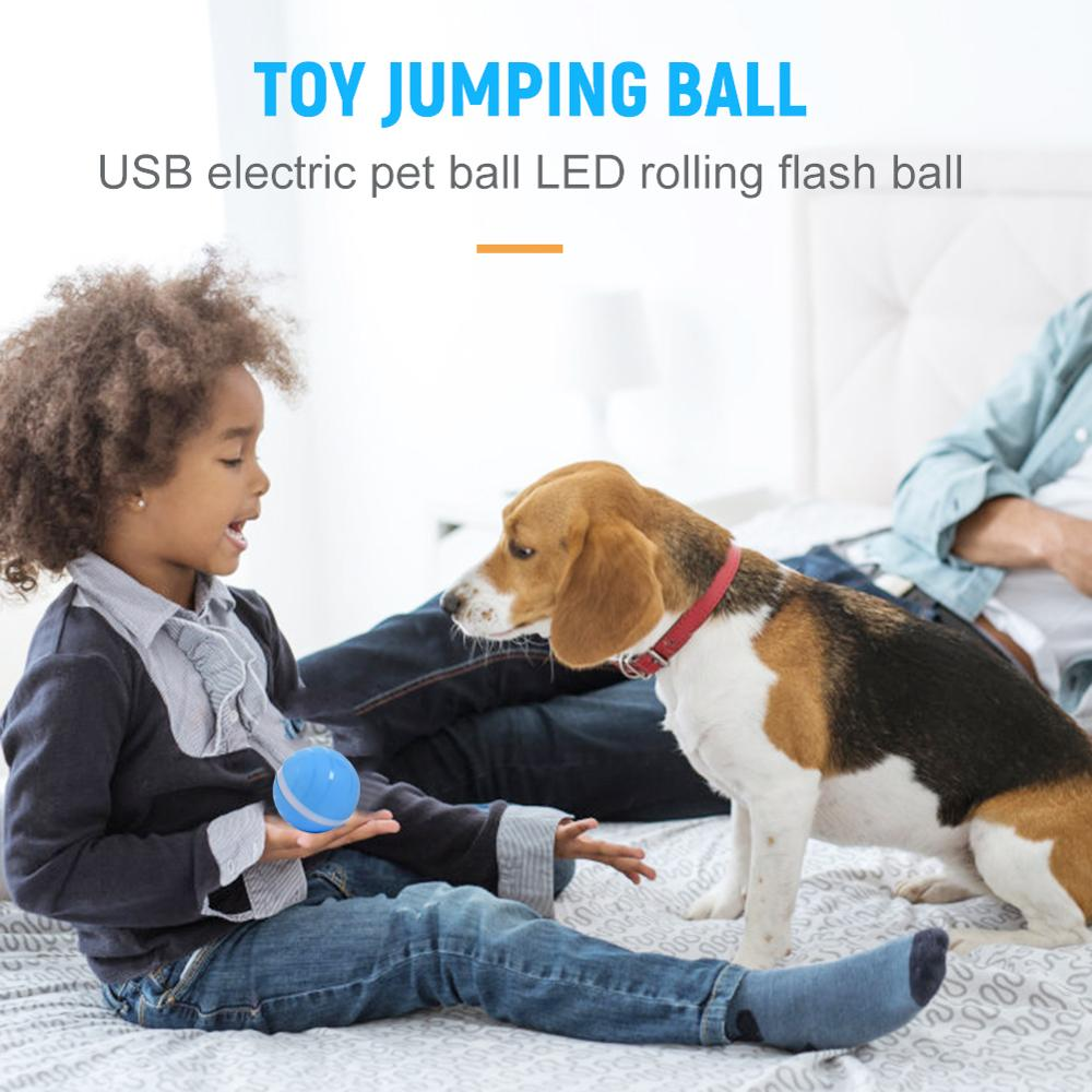 Waterproof Baby Pet Toy Migic Roller Ball Jumping Ball USB Electric Pet Ball LED Rolling Flash Ball Fun For Cat Dog kitten Kids in Cat Toys from Home Garden