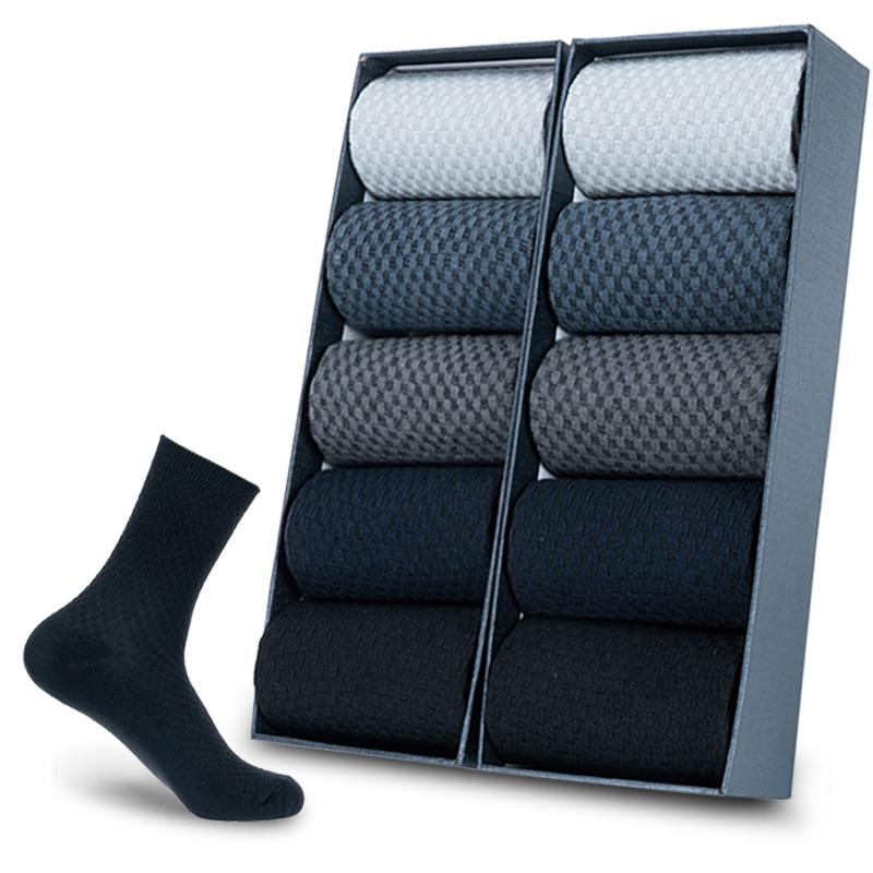 10 Paare/los Männer Bambus Faser Socken Männer Kompression Sommer Lange Socken Business Casual Herren Kleid Socke Geschenke Plus Größe 39-45 neue
