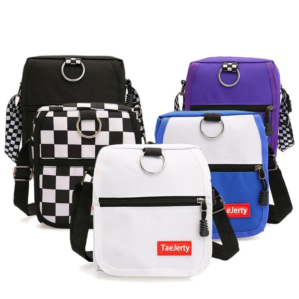 Women Canvas Bag Hong Kong Style Harajuku Style Contrast Color Small Bag Korean Style Fashionable Casual Messenger Shoulder Bags