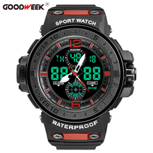 GOODWEEK Military Men Sports Watches Waterproof Mens Led Quartz Watch Multifunctional Dual Display Relogios Masculino