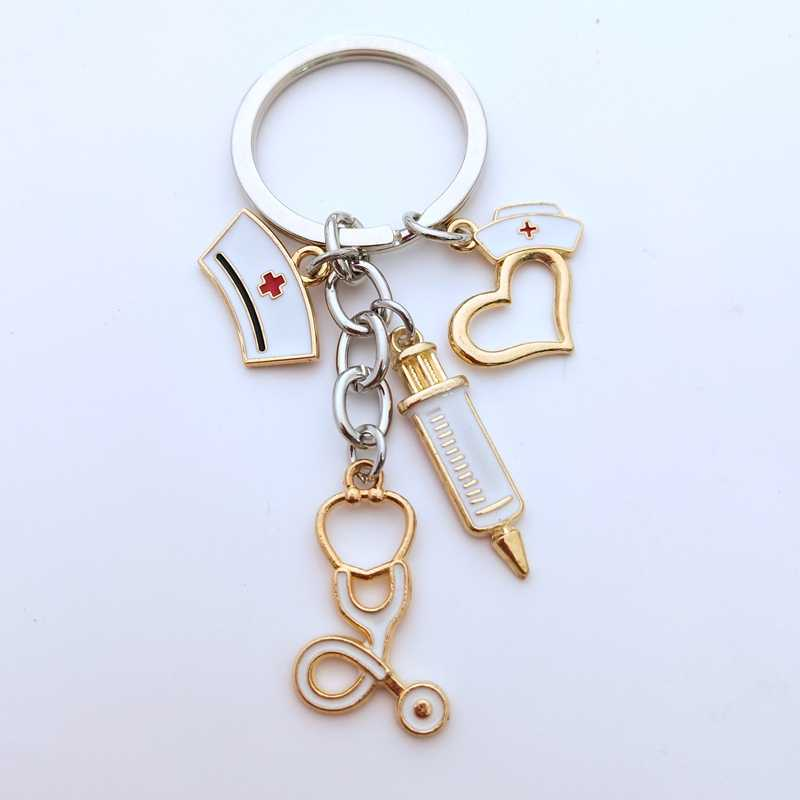 2020 New Nurse Cap Medical Key Chain Needle Syringe Stethoscope Thermometer Cute Keychain Jewelry Gift