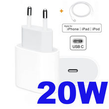 Cargador Original de 20W para iPhone 12, adaptador rápido tipo C, USB C, C2L, cargador QC3.0 para Cable de Apple para iPhone 12 mini 11 Pro Max