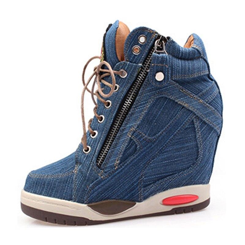 Big Size Women Denim Wedges Sneakers Autumn Platform Casual Shoes Fashion Woman Side Zipper Vulcanized Shoe Thick Bottom Sneaker 7