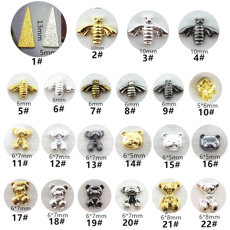 50 шт./упак., японские металлические 3D украшения для ногтей, кавайные треугольные части для ногтей в виде льва и медведя, аксессуары для ногте...
