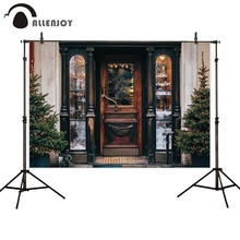 Allenjoy photophone backdrops christmas trees winter wood door decor gift store photographic backgrounds photobooth photocall