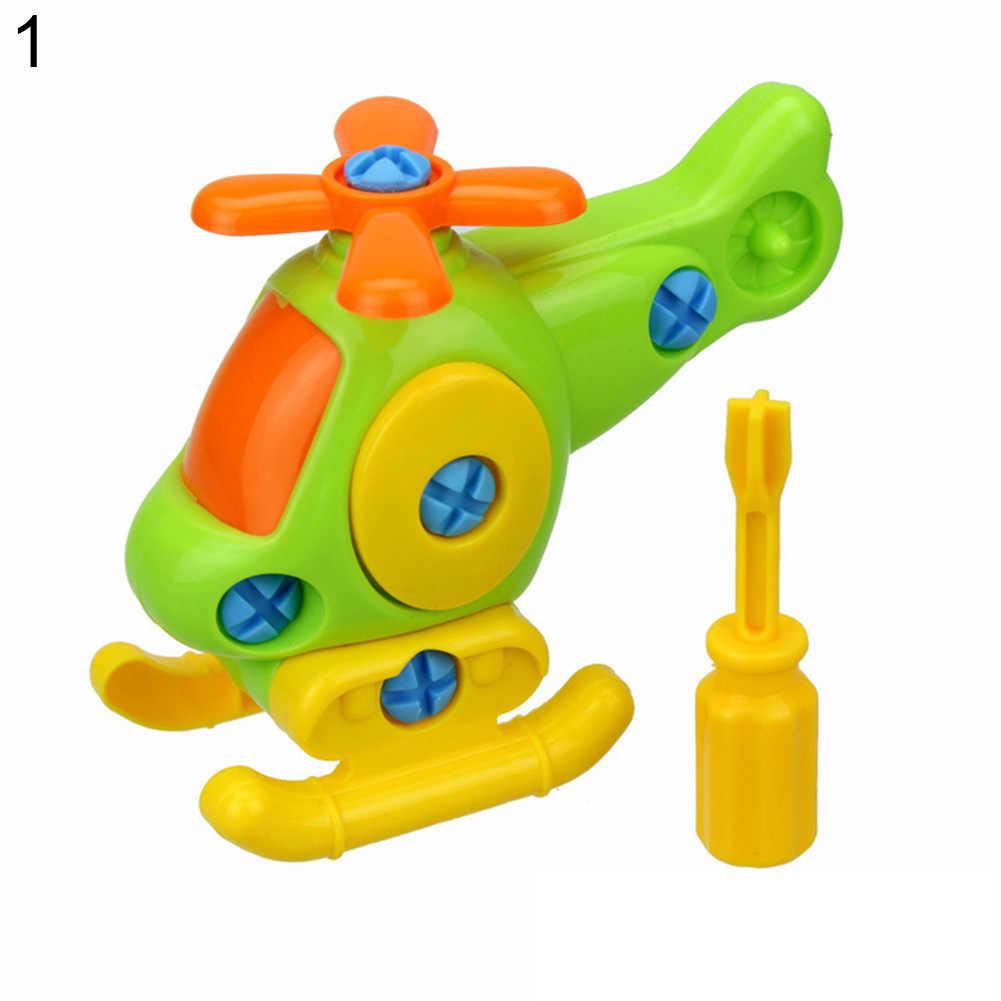 Rompecabezas para niños desmontaje de aviones desmontaje y montaje de pequeños juguetes de tren de dibujos animados montado coche pequeños juguetes