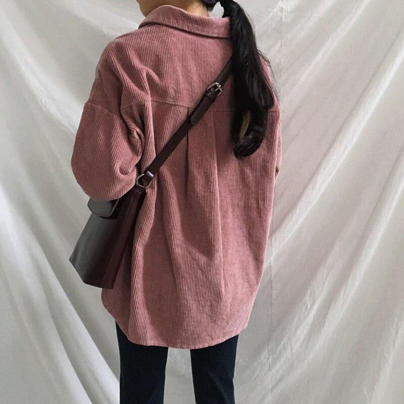 [EAM] Loose Fit Apricot Corduroy Big Size Jacket New Lapel Long Sleeve Women Coat Fashion Tide Spring Autumn 2020 1DA744 6