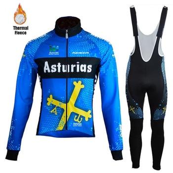 цена на Asturias Men's Cycling Suits Jersey winter shirts thermal fleece ciclismo road Bike jacket mtb Cycling Jersey kit Velvet maillot