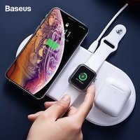 Baseus 3 en 1 cargador inalámbrico Qi para Airpods Apple Watch 4 3 2 1 iWatch almohadilla de carga rápida inalámbrica para iPhone 11 Pro Xs Max X