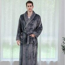 Winter Long Cozy Flannel Bathrobe Thick Warm Plush Bath Robe Night Dressing Gown Women Sleepwear