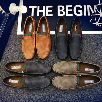 2020 męskie buty biurowe skórzane buty męskie mokasyny męskie wygodne wsuwane obuwie brytyjskie modne mokasyny do jazdy męskie mokasyny tanie i dobre opinie KAXIN RUBBER chuangying53-CD001 -mens loafers Dobrze pasuje do rozmiaru wybierz swój normalny rozmiar Stałe Dla osób dorosłych