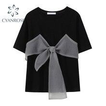 Camiseta de retales con lazo grande para mujer, Camiseta holgada de estilo coreano, ropa de calle elegante, Tops informales de manga corta Ins, novedad de verano 2021