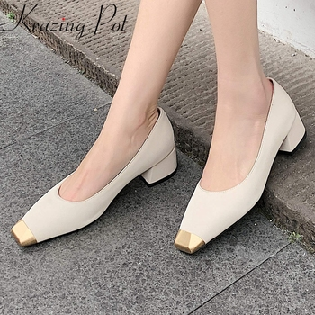 Krazing pot 2020 new natural leather square toe med heels women pumps elegant dating loafers metal decorations women shoes L87