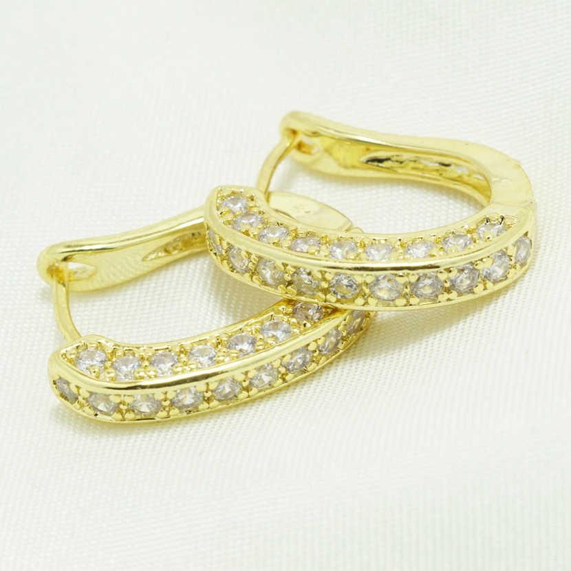 Hoa Hồng Vàng/Màu Bạc Hình Tròn Vòng Bông Tai Nữ Và Cô Gái Tặng AAA Cubic Zirconia Earings Thời Trang Bông Tai Nữ Trang Sức earing