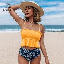 Cupshe smocked laranja monstera alta-cintura conjuntos de biquíni mulher sexy tanque maiô duas peças banho 2021 beachwear