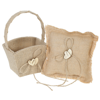 New Ring Pilllow  6 X 6 inches Vintage Burlap Double Heart Ring Bearer Pillow and Rustic Wedding Flower Girl Basket Set