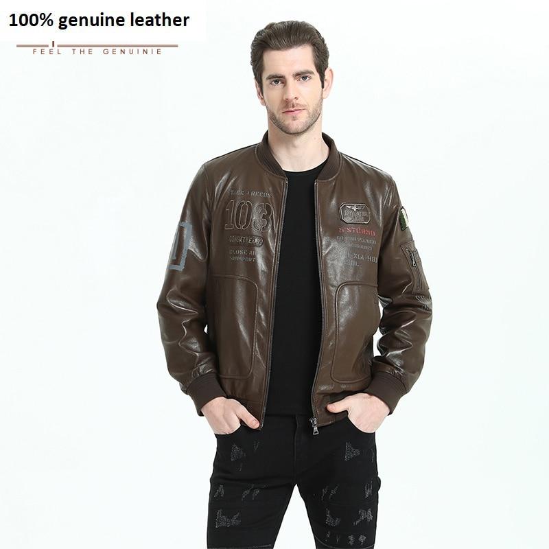 Men Leather Jacket Brown Sheepskin Printed Indian Head Men's Genuine Leather Jacket Thin Soft Man Leather Coat Autumn M199