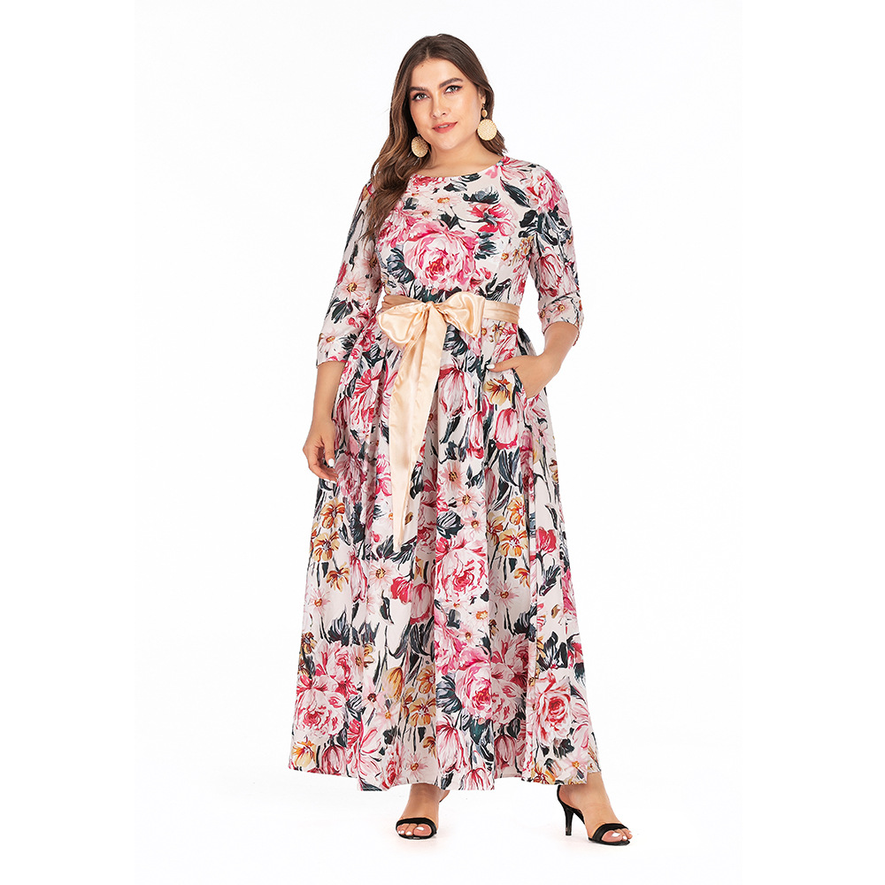 Autumn And Winter Europe And America Cross Border Large Size Dress Printed Bohemian Long-sleeved Dress Party Formal Dress Long S