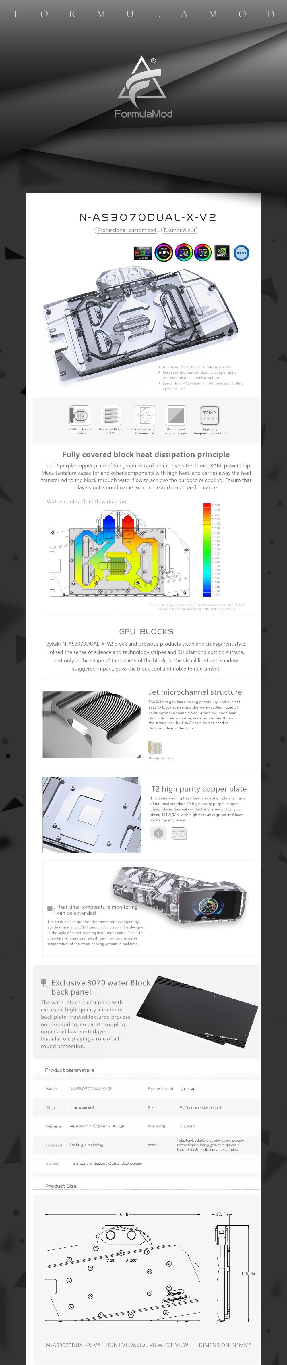 Bykski 3070 GPU Water Cooling Block For ASUS RTX3070 DUAL, Graphics Card Liquid Cooler System, N-AS3070DUAL-X-V2