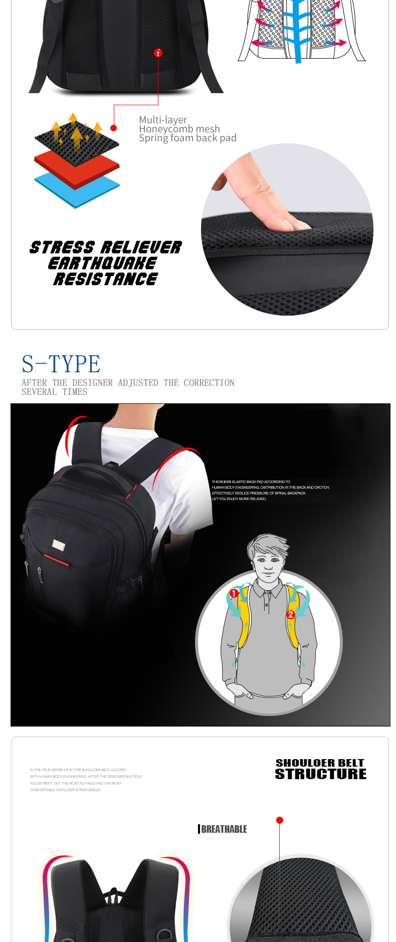 【ReLiVer】 Stress-Relief Double-Shoulder Strap Best Way to Reduce Heavy Burden on Shoulder for School Work Business Trip Hiking Traveling Camera Bags