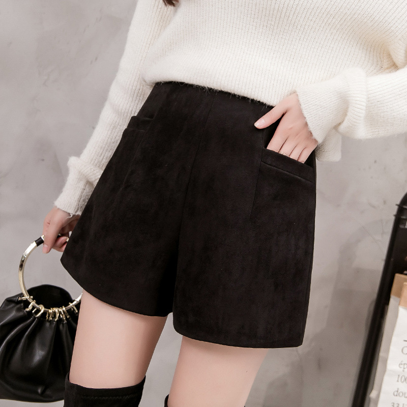 S-3xl High Waist Shorts For Women 2019 Autumn Winter Suede Velvet Booty Shorts Women Plus Size Black Sweat Shorts Women Mujer